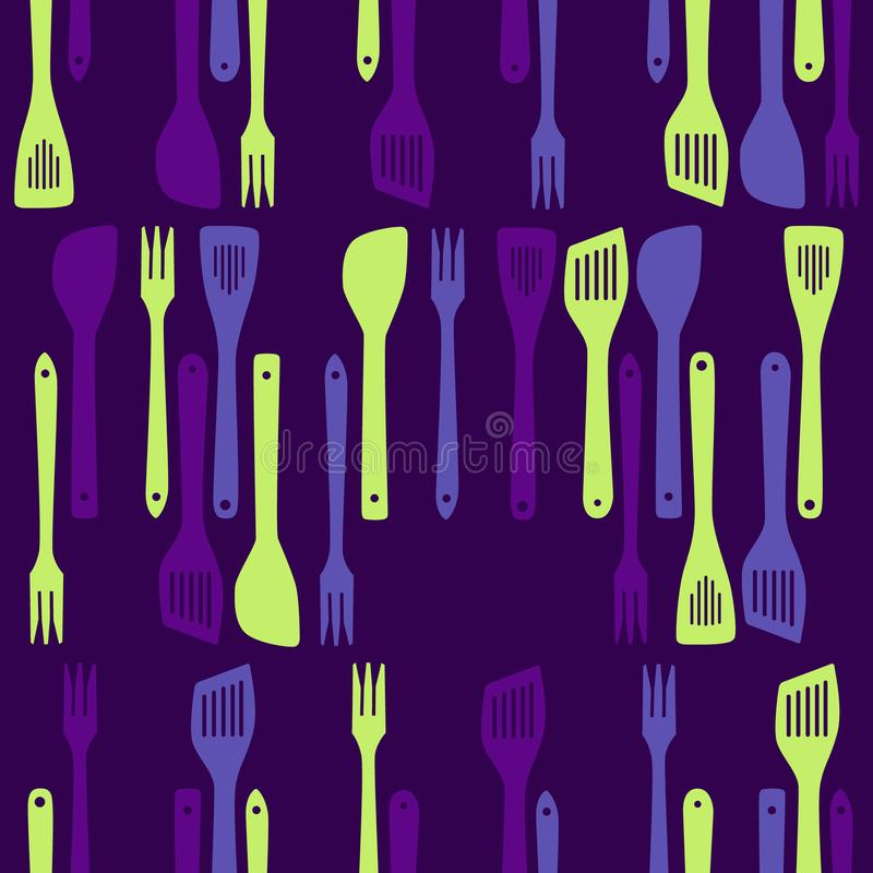 Frying tools. Purple and green frying tools - seamless background vector illustration