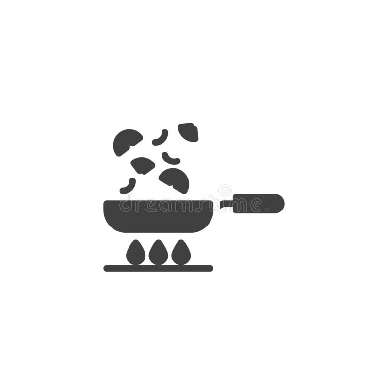 Frying vegetables on pan vector icon. Cooking process filled flat sign for mobile concept and web design. Frying pan on gas stove glyph icon. Symbol, logo royalty free illustration