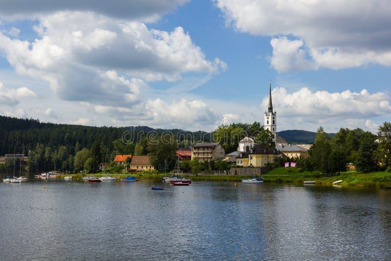 Frymburk dichtbij Lipno meer, Tsjechische Republiek. stock fotografie