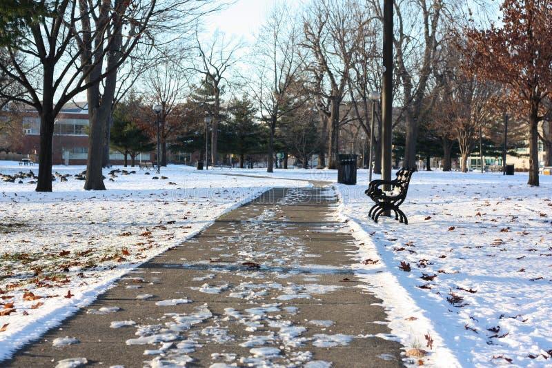 Frysa gångbanan i vintern som täcker med snö och is arkivfoto