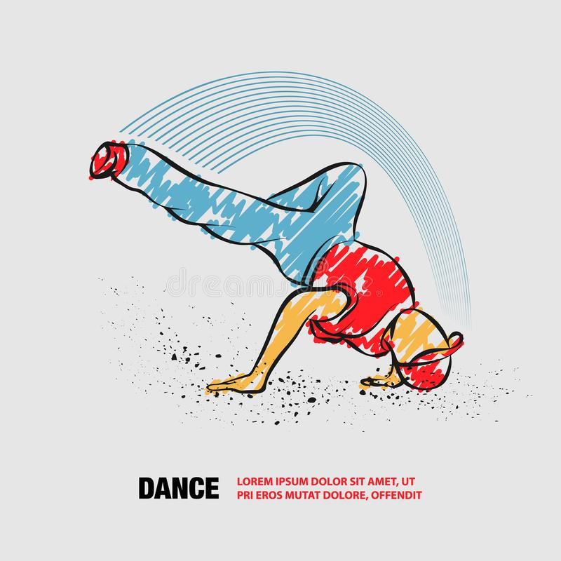 Frysning av brott Vektorkontur för Breakdancer med handbojor stock illustrationer