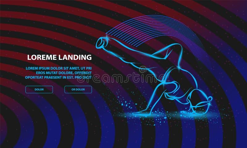 Frysning av brott Vektorns brytningsbakgrund för landningssidmall vektor illustrationer
