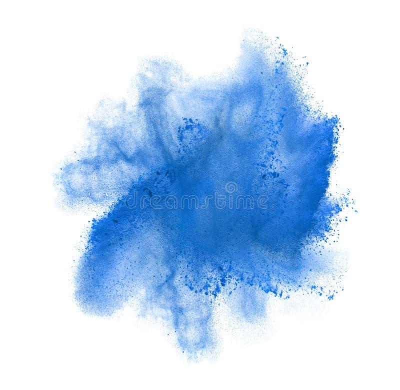 Frysningrörelse av blått pudrar explosion som isoleras arkivbild