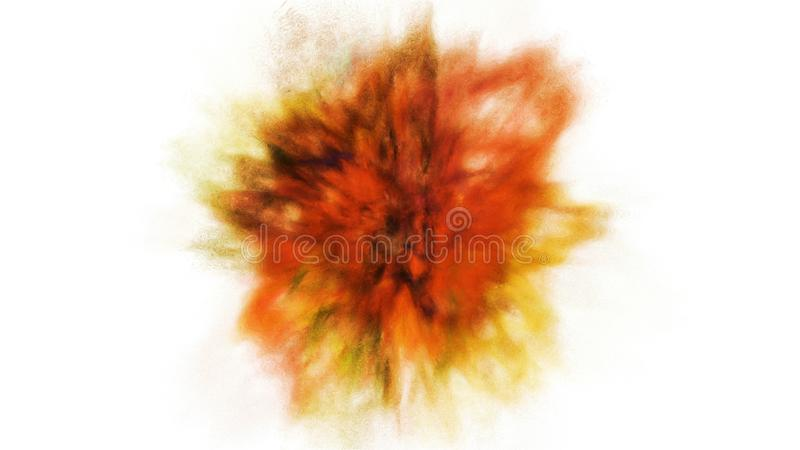 Frysningrörelseexplosion av ljus gul och guld- pulver och målarfärg för Holi stock illustrationer