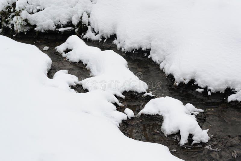 fryst liten vik Härlig naturlig vinterbakgrund I arkivbilder