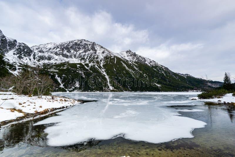 Fryst sjön Morskie Oko eller Sea Eye Lake i Polen på Winter royaltyfri foto