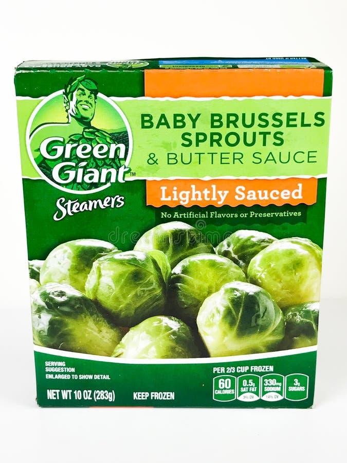 Fryste gröna jätte- ångare behandla som ett barn Bryssel groddar arkivfoton