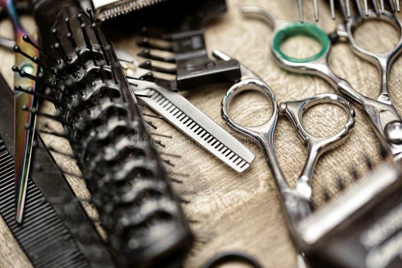 Fryzjerów męskich narzędzia w rocznika stylu fotografia royalty free