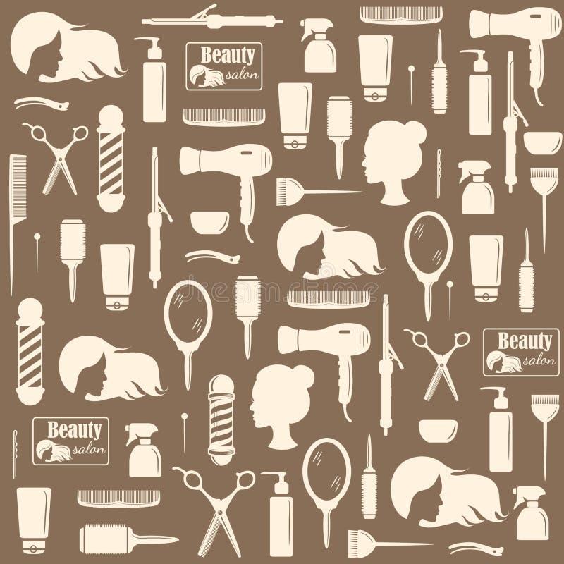 Fryzjerów narzędzi bezszwowy wzór royalty ilustracja