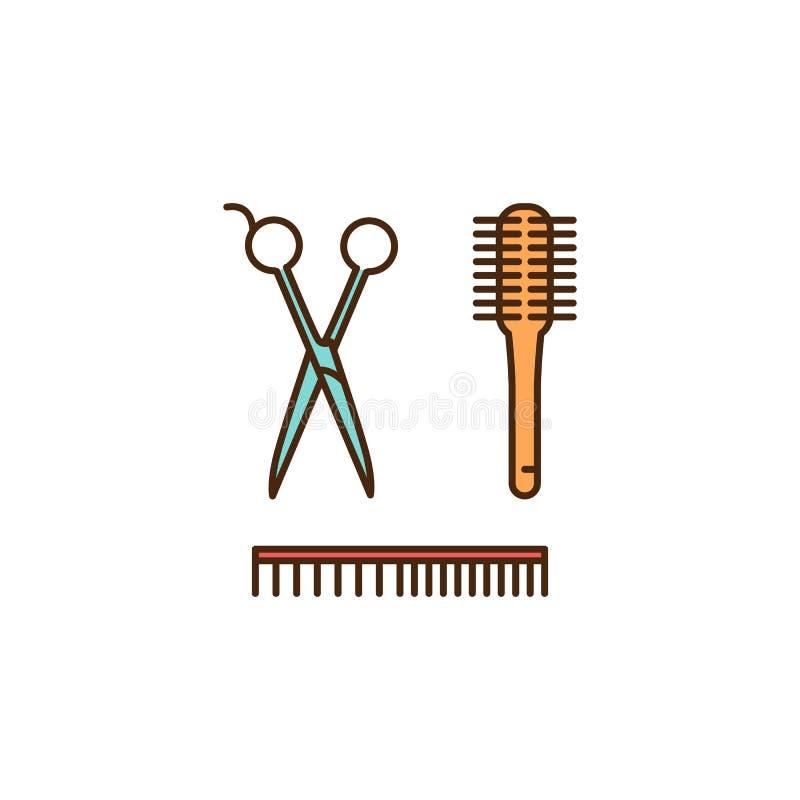 Fryzjerów narzędzia - nożyce, grępla, muśnięcie Zakład fryzjerski ikona, Włosianego salonu symbole Cienki kreskowej sztuki koloro ilustracji