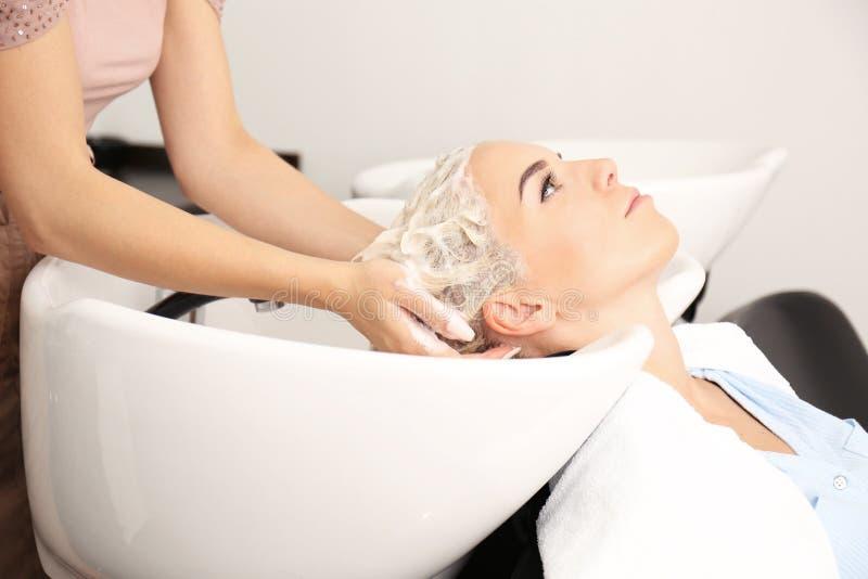 Fryzjer kobiety ` s płuczkowy włosy w salonie fotografia royalty free