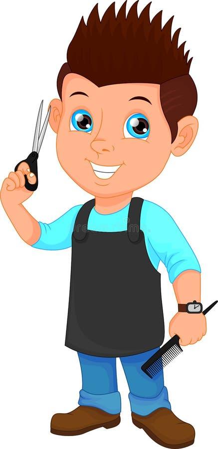 Fryzjer męski chłopiec z nożycami i gręplą ilustracja wektor