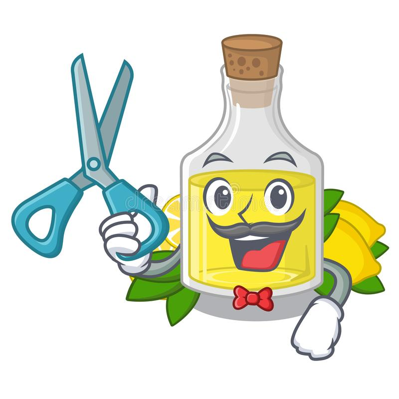 Fryzjer męski cytryny olej w maskotka kształcie ilustracja wektor