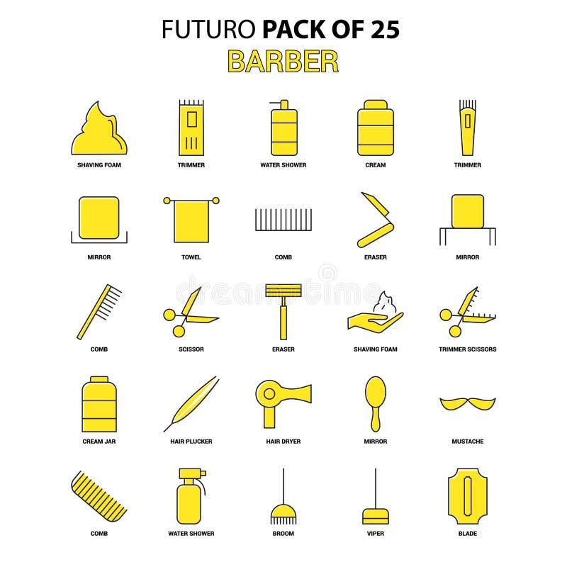 Fryzjer męski ikony set Żółta Futuro projekta ikony Opóźniona paczka ilustracja wektor