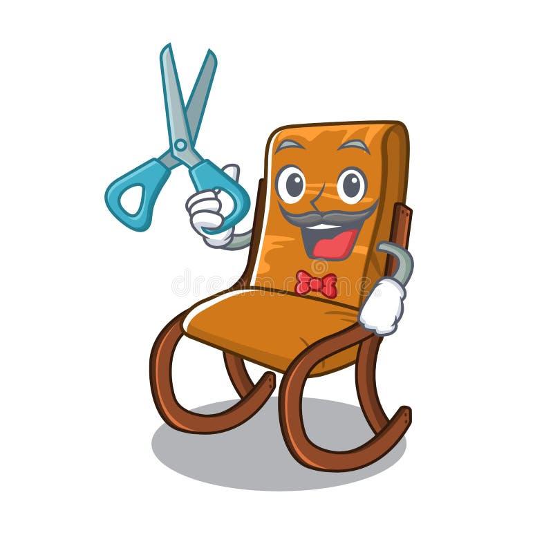 Fryzjer męski kołysa krzesła w kreskówka żywym pokoju ilustracja wektor