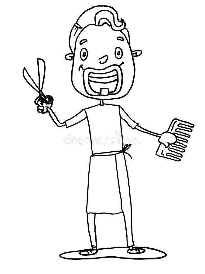 fryzjer męski, fryzjer kreskówki ilustracyjny rysunek i biały tła tło, i białego ilustracji