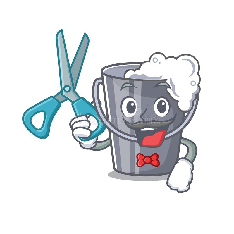 Fryzjer męski mydlasta woda odizolowywająca z maskotką ilustracji
