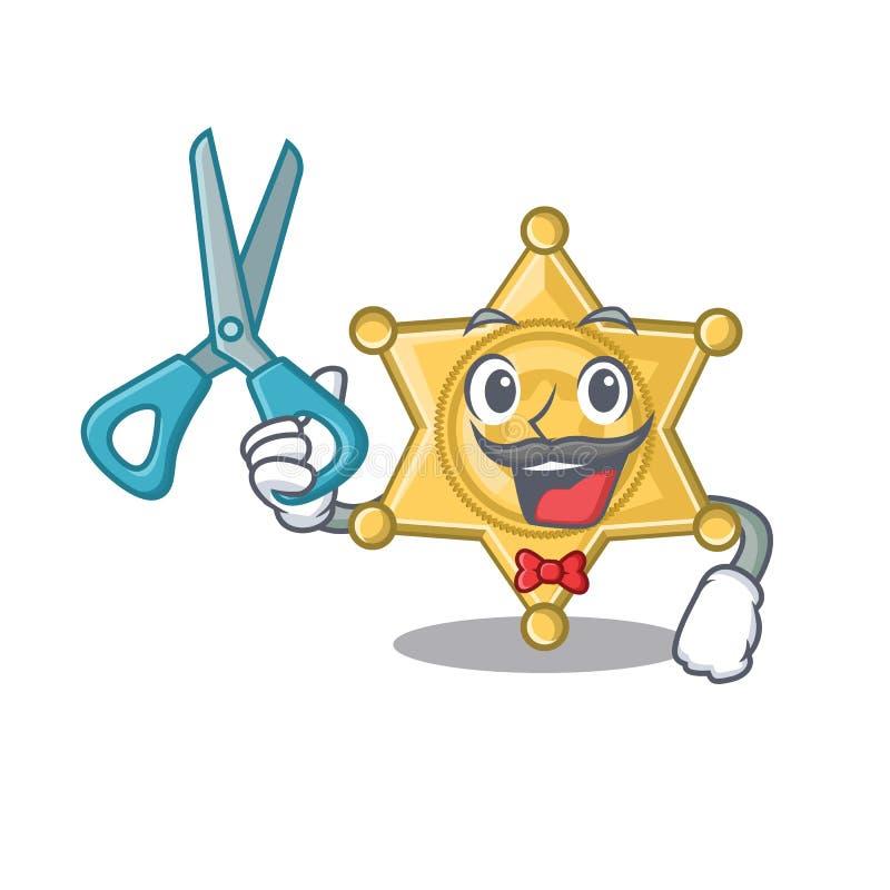 Fryzjer męski odznaki gwiazdowa policja odizolowywająca w maskotce ilustracji