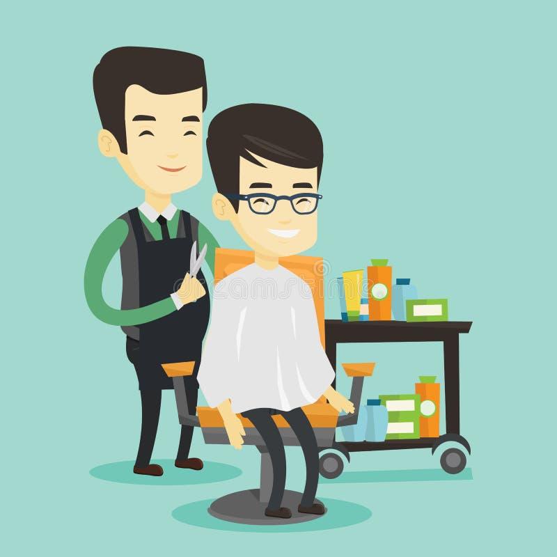 Fryzjer męski robi ostrzyżeniu młody azjatykci mężczyzna ilustracji