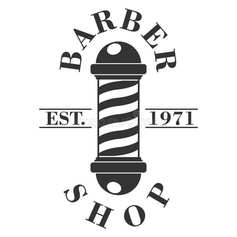 fryzjer męski słupa sklep Fryzjerstwo baru ikona odizolowywająca na białym tle Zakładu fryzjerskiego symbol i znak Projekta eleme ilustracja wektor