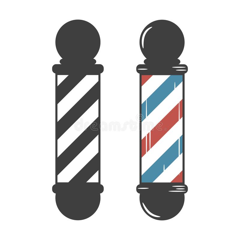 fryzjer męski słupa sklep rocznika set wektor ilustracji