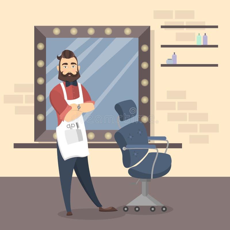 fryzjer męski w salonie ilustracja wektor