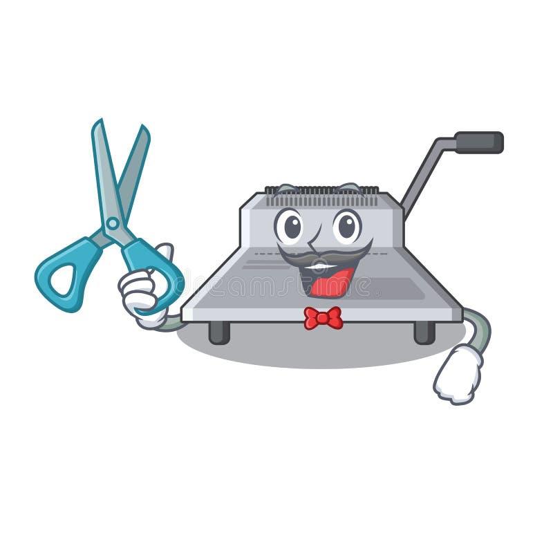Fryzjer męski wiążąca maszyna odizolowywająca w maskotce ilustracja wektor