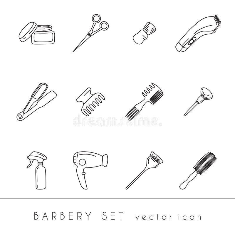Fryzjer męski wytłacza wzory ikony ustawiać ilustracja wektor