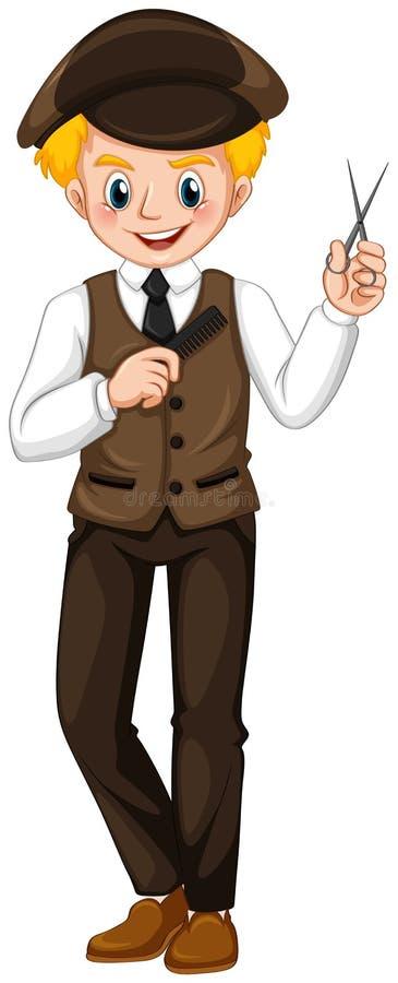 Fryzjer męski z nożycami i gręplą w rękach ilustracja wektor