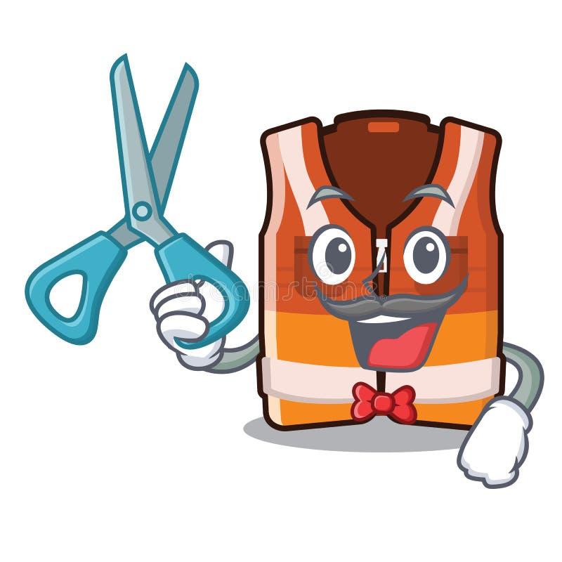 Fryzjer męski zbawcza kamizelka odizolowywająca w charakterze ilustracji