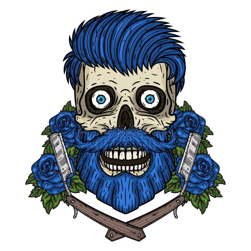 Fryzjer m?ski czaszka Modniś czaszka z fryzjer męski różami i ostrzem Ilustracja dla zak?adu fryzjerskiego ilustracja wektor