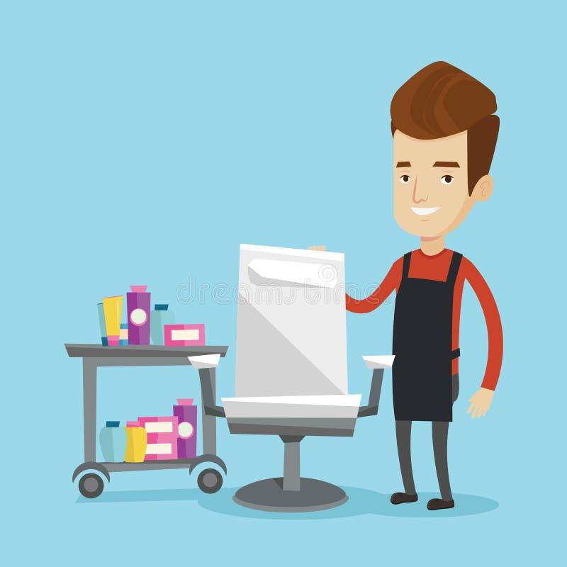 Fryzjer przy miejscem pracy w fryzjera męskiego sklepie royalty ilustracja