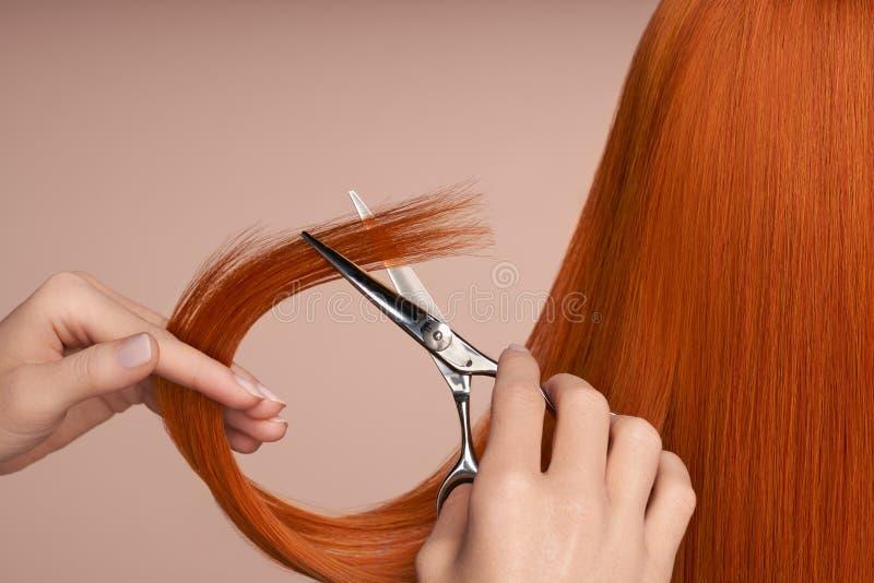 Fryzjer strzyga długie czerwone włosy nożyczkami obraz royalty free