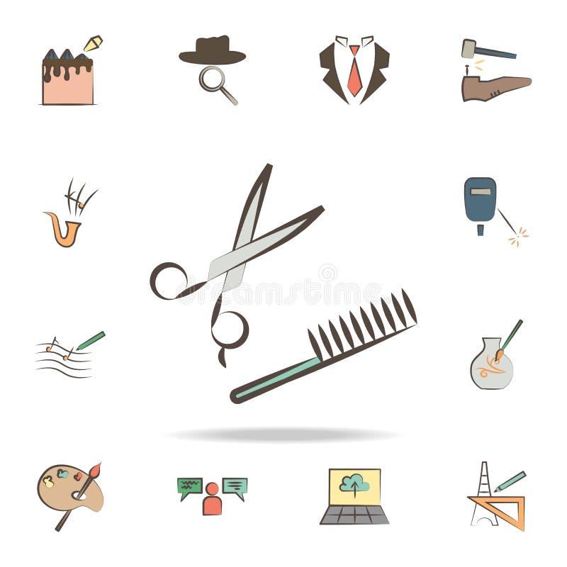 fryzjer wytłacza wzory ikonę Szczegółowy set narzędzia różnorodne zawód ikony Premia graficzny projekt Jeden inkasowe ikony ilustracja wektor