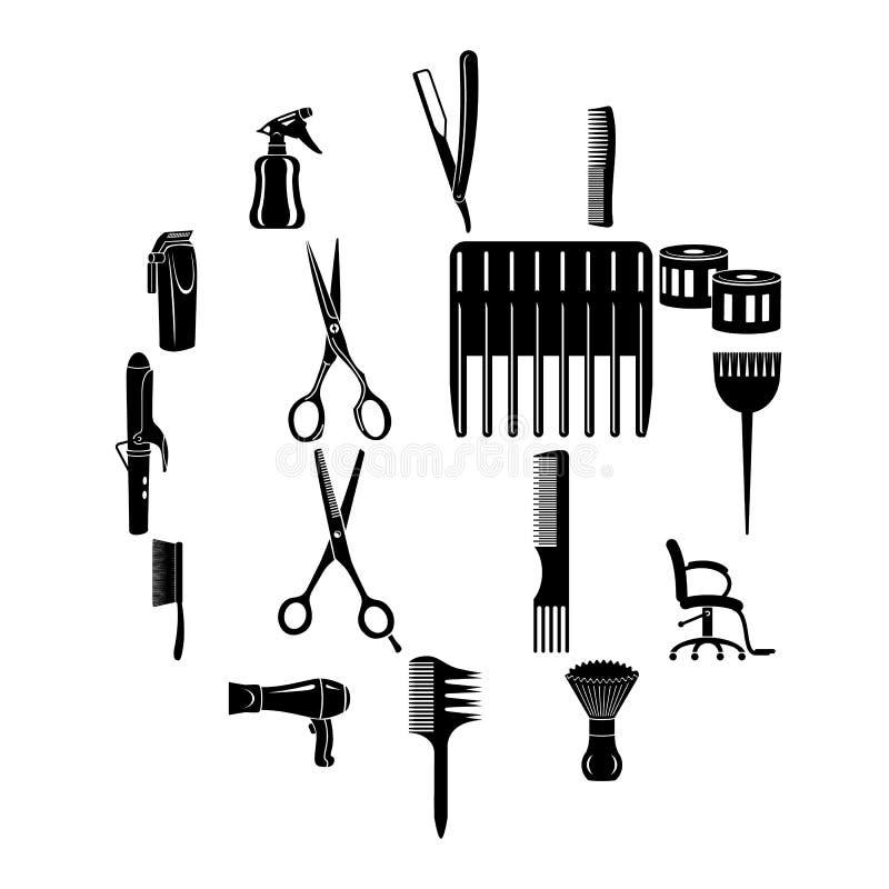 Fryzjer wytłacza wzory ikony ustawiać, prosty styl royalty ilustracja