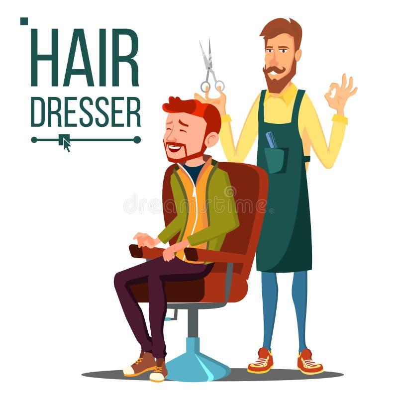Fryzjera I mężczyzna wektor barber Nożyce Stylisty fryzjer męski Fryzjera salon cążki włosy odosobniony biel Odosobniona Płaska k ilustracji