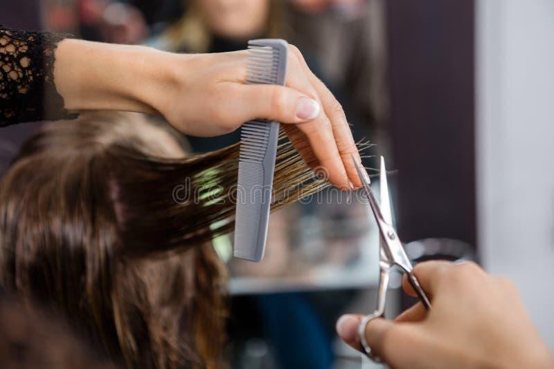 Fryzjera klienta Tnący włosy W salonie zdjęcie royalty free