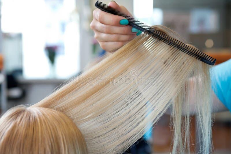 Fryzjera klienta Zgrzywiony Żeński włosy fotografia stock