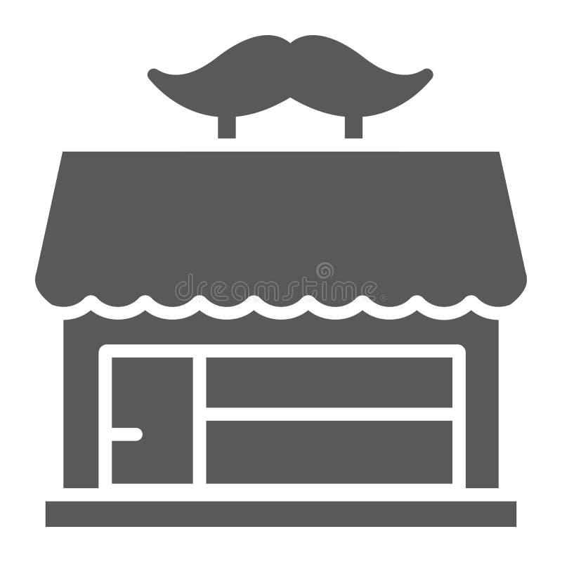Fryzjera męskiego sklepu glifu ikona, fryzjerstwo i dom buduje znaka, wektorowe grafika, bryła wzór na białym tle royalty ilustracja