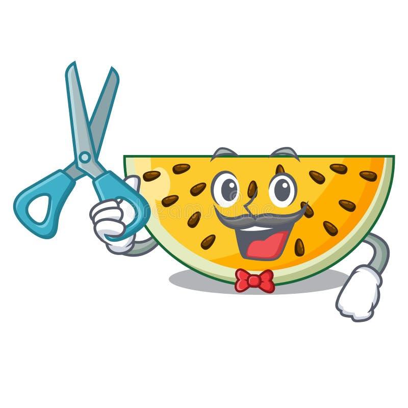Fryzjera męskiego świeży żółty arbuz na charakter kreskówce ilustracji