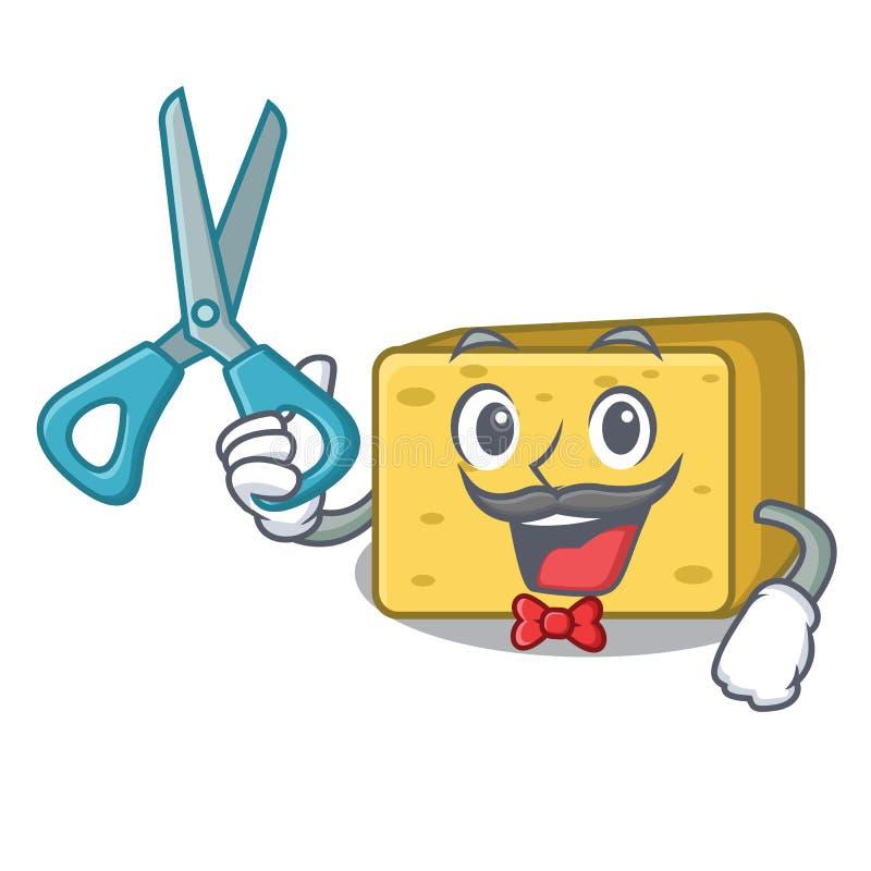 Fryzjera męskiego gouda sera charakteru kreskówka ilustracji