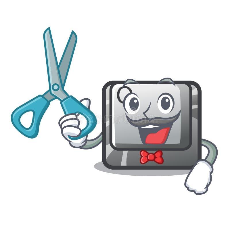 Fryzjera męskiego guzik Q odizolowywający w maskotce ilustracja wektor