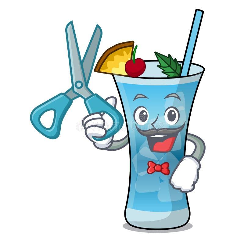 Fryzjera męskiego Hawaii charakteru błękitna kreskówka royalty ilustracja