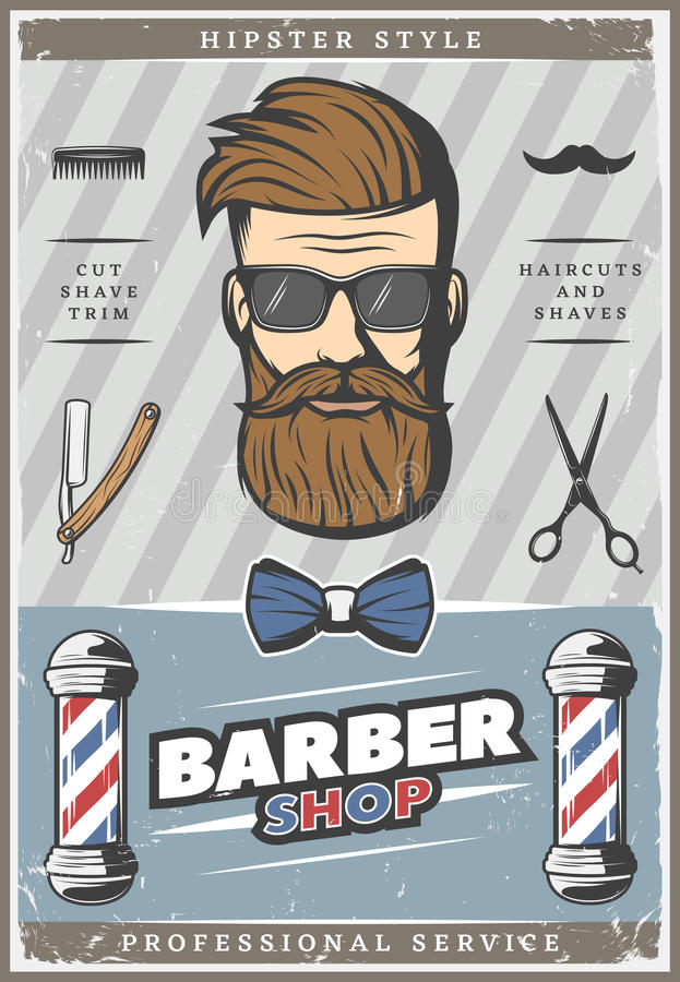 Fryzjera męskiego modnisia rocznika plakat ilustracji