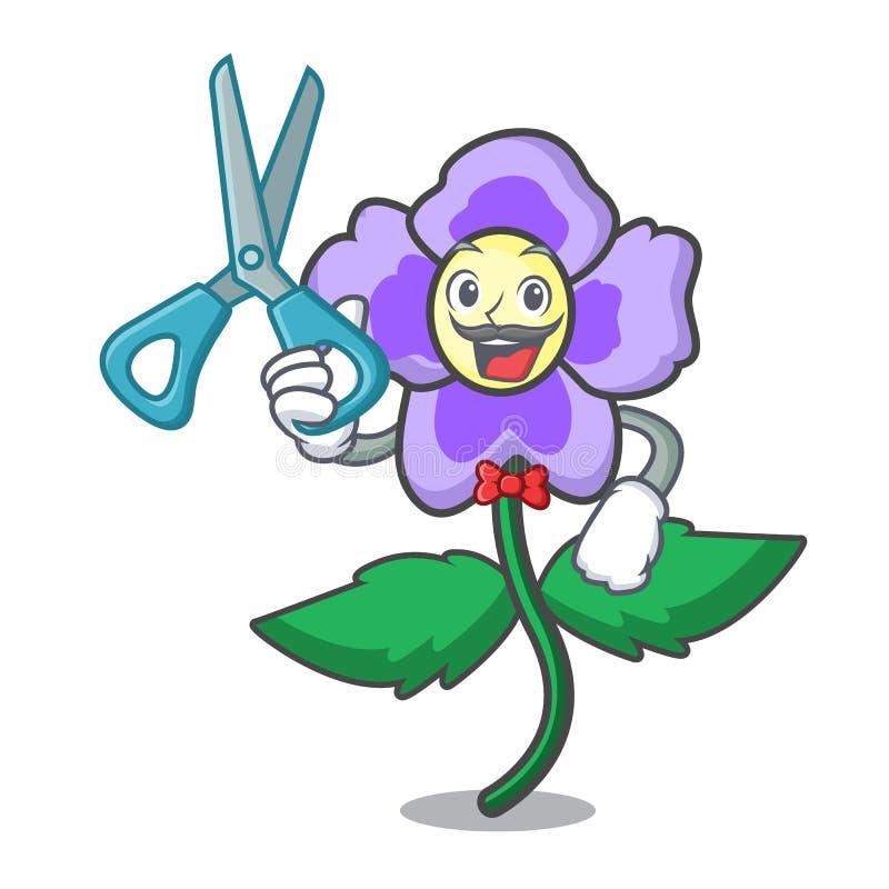 Fryzjera męskiego pansy kwiatu charakteru kreskówka royalty ilustracja
