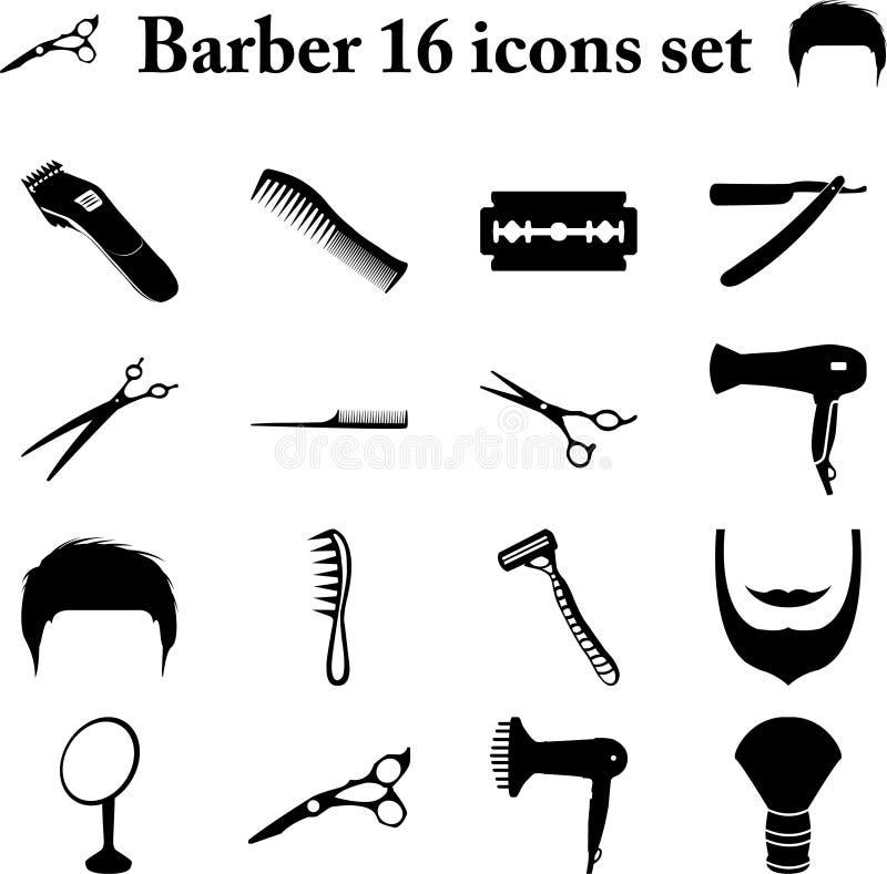 Fryzjera męskiego 16 proste ikony ustawiać obrazy stock