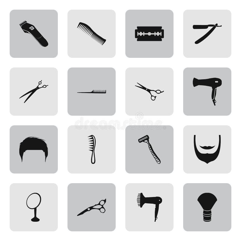 Fryzjera męskiego 16 proste ikony ustawiać obraz royalty free