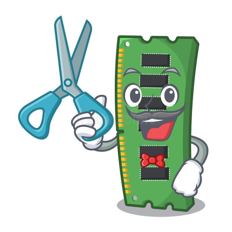 Fryzjera męskiego RAM karta pamięci odizolowywająca w kreskówce royalty ilustracja