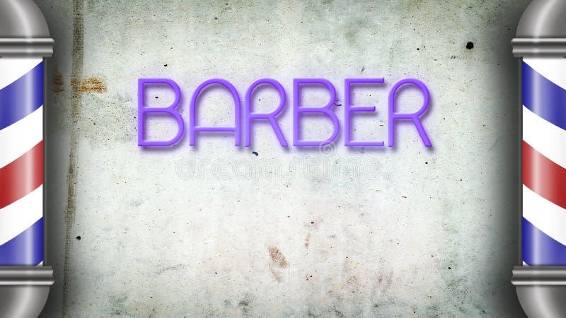 Fryzjera męskiego słup przeciw szarej betonowej ścianie kosmos kopii Pojęcie fryzjera męskiego sklep zdjęcie royalty free