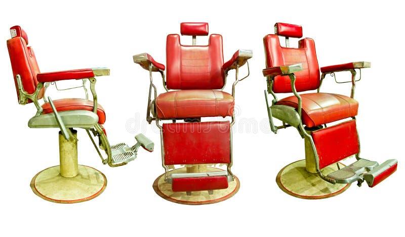 Fryzjera męskiego sklep z Staromodnym chromu krzesłem ilustracja wektor